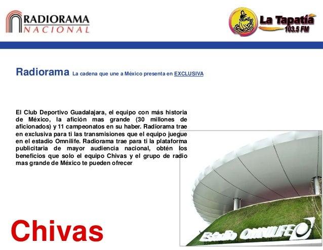 Radiorama La cadena que une a México presenta en EXCLUSIVA Chivas El Club Deportivo Guadalajara, el equipo con más histori...