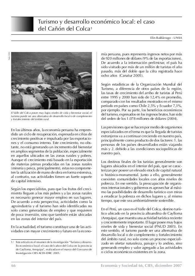 Turismo y desarrollo económico local: el caso    del Cañón del Colca1 Elin Baldárrago - UNSA  Foto CIES  mía peruana, pues...