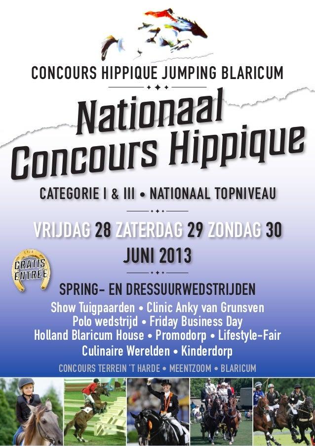 CONCOURS HIPPIQUE JUMPING BLARICUM    Nati onaalCo ncou rs Hip pique          CATEGORIE I & III • NATIONAAL TOPNIVEAU     ...