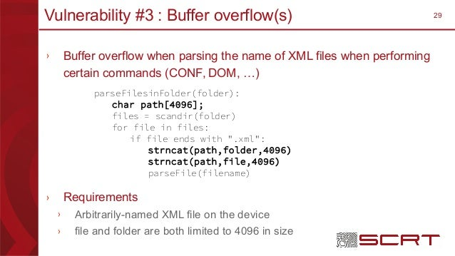 29Vulnerability #3 : Buffer overflow(s) › Buffer overflow when parsing the name of XML files when performing certain comma...