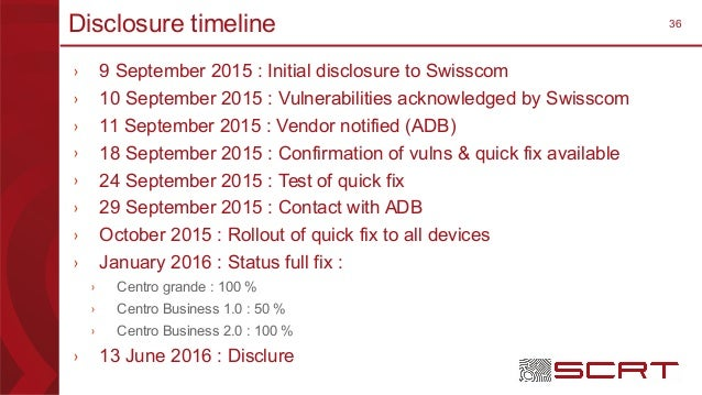 36Disclosure timeline › 9 September 2015 : Initial disclosure to Swisscom › 10 September 2015 : Vulnerabilities acknowledg...