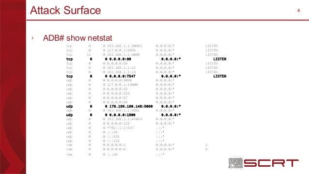 4Attack Surface › ADB# show netstat tcp 0 0 192.168.1.1:50602 0.0.0.0:* LISTEN tcp 0 0 127.0.0.1:9034 0.0.0.0:* LISTEN tcp...