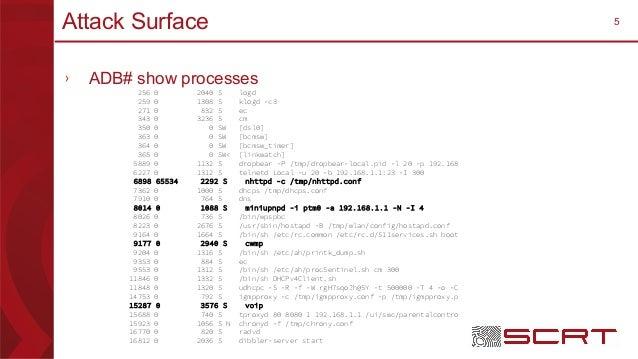 5Attack Surface › ADB# show processes 256 0 2040 S logd 259 0 1308 S klogd -c3 271 0 832 S ec 343 0 3236 S cm 350 0 0 SW [...