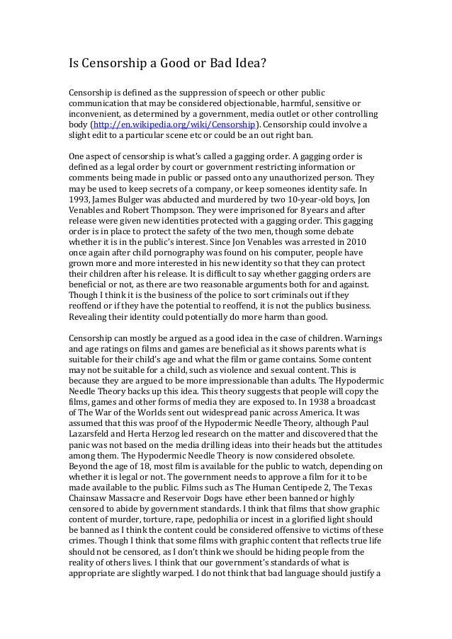 censorship good or bad essay
