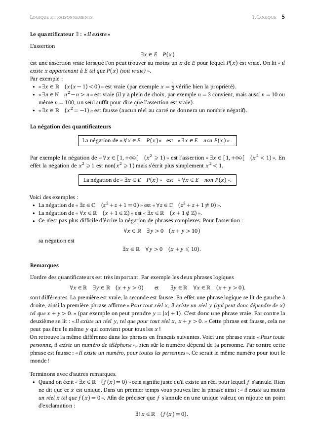 LOGIQUE ET RAISONNEMENTS 1. LOGIQUE 5 Le quantificateur ∃ : « il existe » L'assertion ∃x ∈ E P(x) est une assertion vraie l...