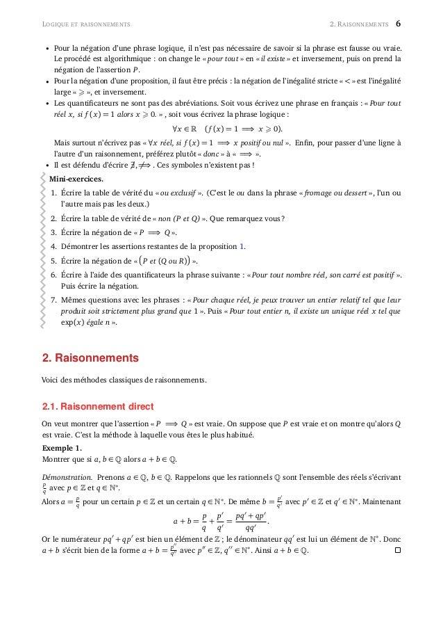 LOGIQUE ET RAISONNEMENTS 2. RAISONNEMENTS 6 • Pour la négation d'une phrase logique, il n'est pas nécessaire de savoir si ...
