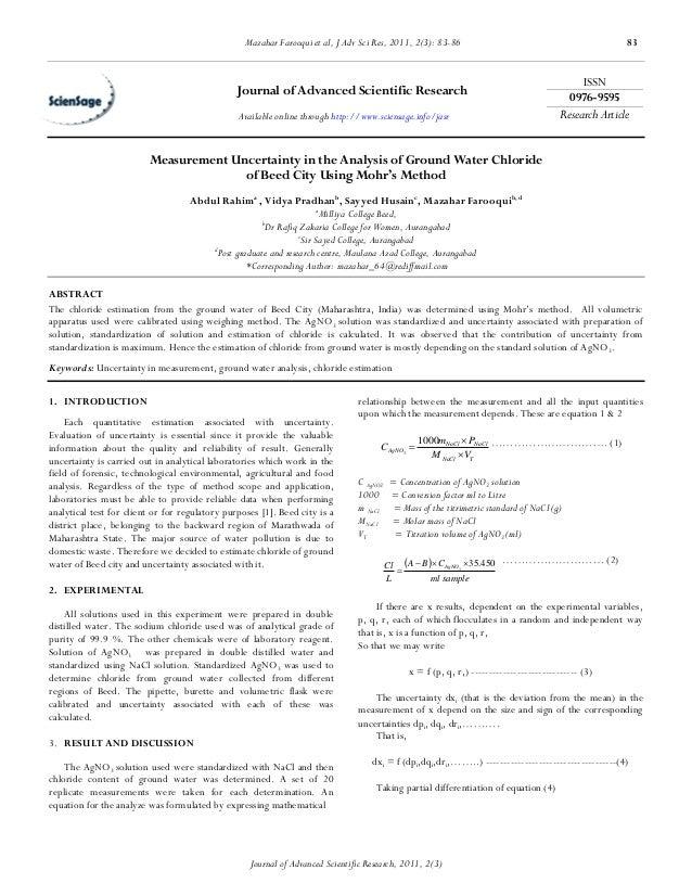 Mazahar Farooqui et al, J Adv Sci Res, 2011, 2(3): 83-86                                              83                  ...