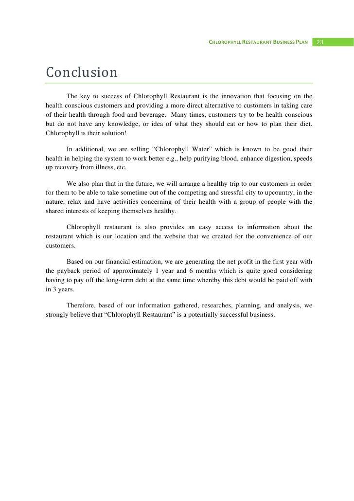 appendix for restaurant business plan