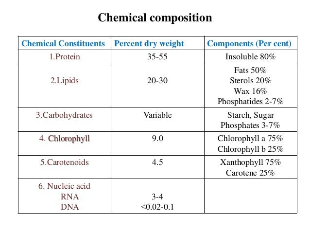 Chemical Composition of chloroplast