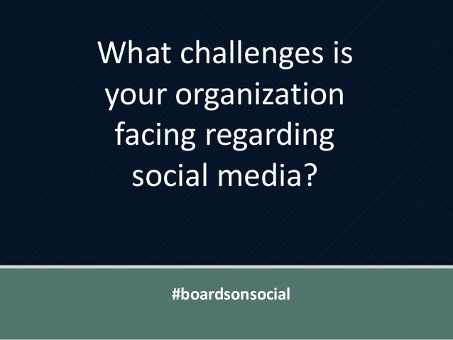 What challenges is your organization facing regarding social media? #boardsonsocial