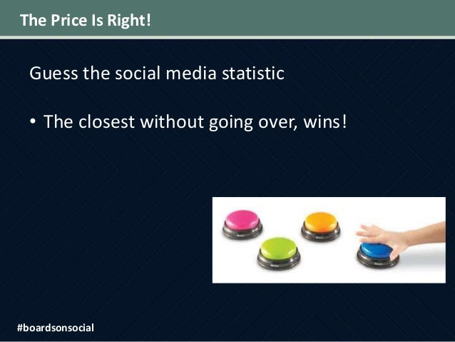 The Price Is Right! Guess the social media statistic • The closest without going over, wins! #boardsonsocial