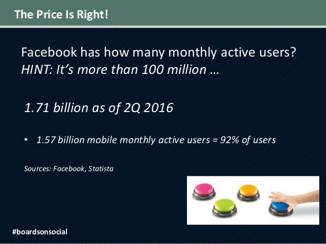 The Price Is Right! Facebook has how many monthly active users? HINT: It's more than 100 million … 1.71 billion as of 2Q 2...