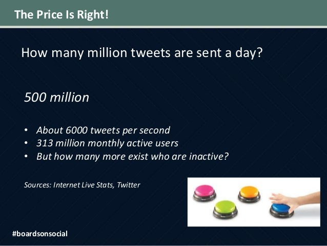 The Price Is Right! How many million tweets are sent a day? 500 million • About 6000 tweets per second • 313 million month...
