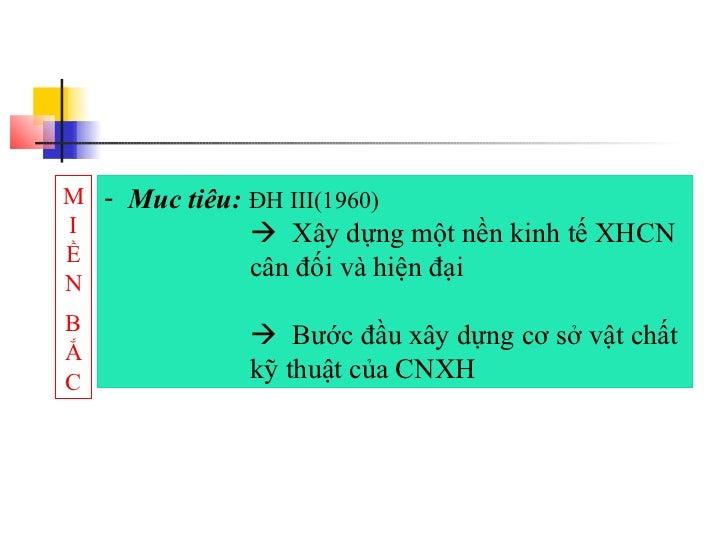 M - Muc tiêu: ĐH III(1960)I              Xây dựng một nền kinh tế XHCNỀ              cân đối và hiện đạiNB              ...