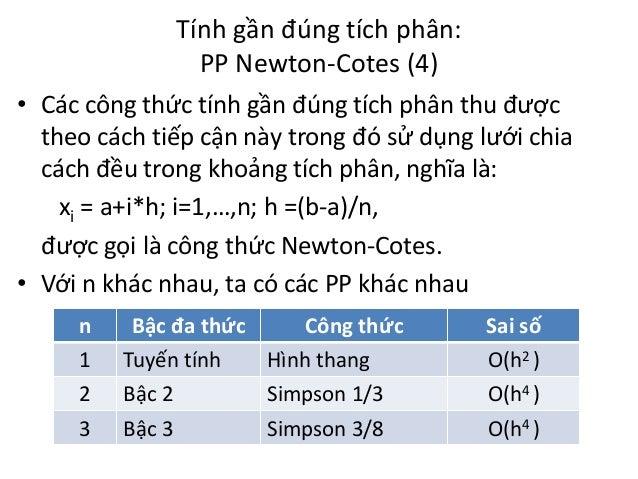 Tính gần đúng tích phân: PP Newton-Cotes (4) • Các công thức tính gần đúng tích phân thu được theo cách tiếp cận này trong...