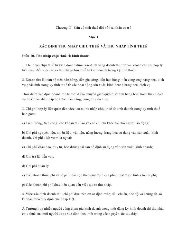 Chương II - Căn cứ tính thuế đối với cá nhân cư trú                                                 Mục 1            XÁC Đ...