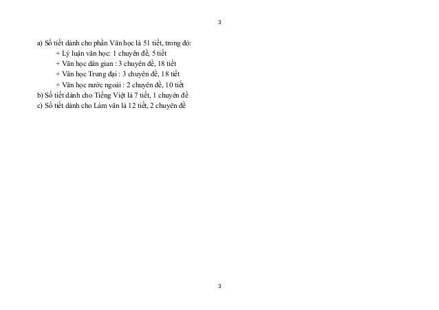 3a) Số tiết dành cho phần Văn học là 51 tiết, trong đó:       + Lý luận văn học: 1 chuyên đề, 5 tiết       + Văn học dân g...