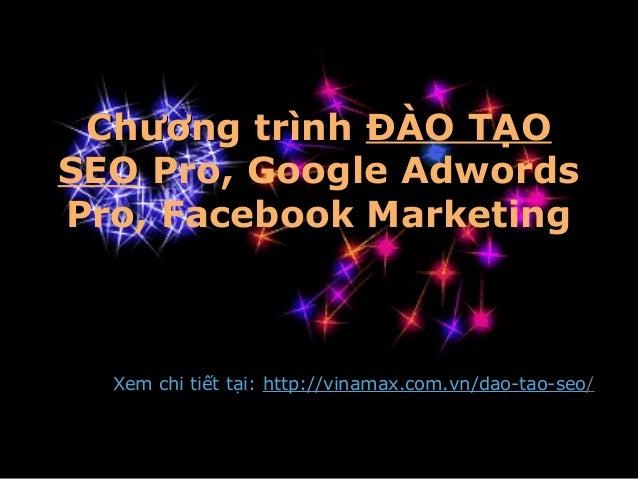 Chương trìnhChương trình ĐÀO TẠO SEO Pro, Google Adwords Pro, Facebook Marketing Xem chi tiết tại: http://vinamax.com.vn/d...
