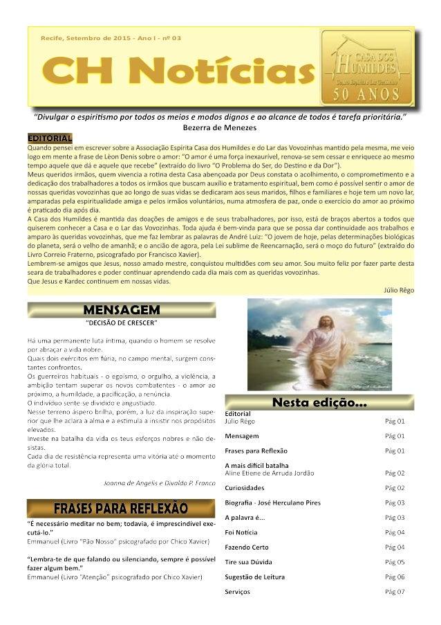Recife, Setembro de 2015 - Ano I - nº 03 CH Notícias Recife, Setembro de 2015 - Ano I - nº 03 CH Notícias