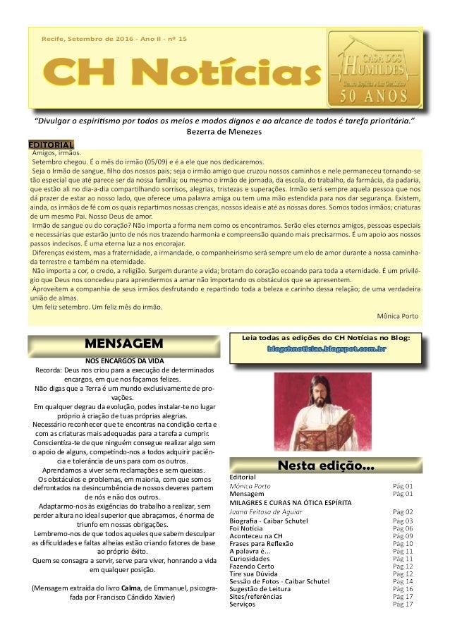 Recife, Setembro de 2016 - Ano II - nº 15 CH Notícias Recife, Setembro de 2016 - Ano II - nº 15 CH Notícias Leia todas as ...