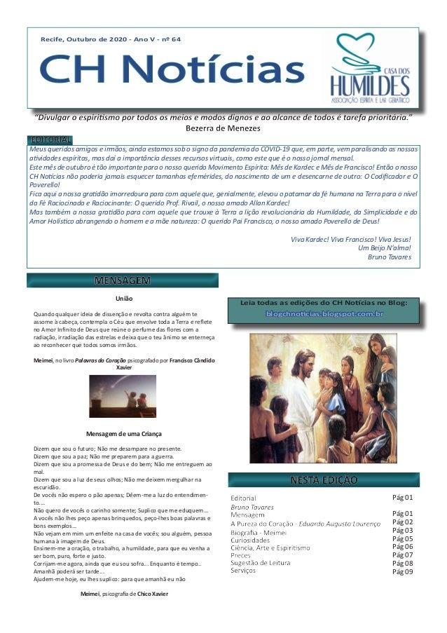 Recife, Outubro de 2020 - Ano V - nº 64 CH Notícias Recife, Outubro de 2020 - Ano V - nº 64 CH Notícias Meus queridos amig...
