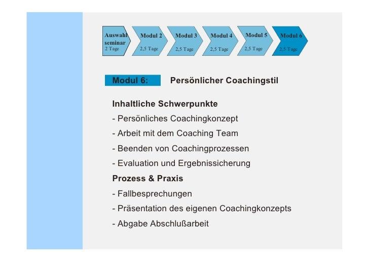 Modul A    Modul B     Modul C    Modul D   3 Tage      3 Tage      3 Tage     3 Tage     Aufbaumodule Modul A: Coaching i...