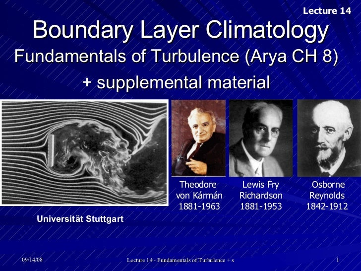 Boundary Layer Climatology Fundamentals of Turbulence (Arya CH 8) + supplemental material Theodore  von Kármán  1881-1963 ...