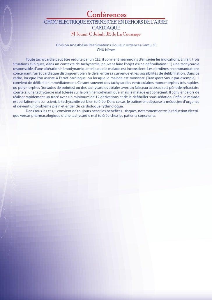 Conférences                    CHOC ELECTRIQUE EXTERNE (CEE) EN DEHORS DE L'ARRET                                        C...