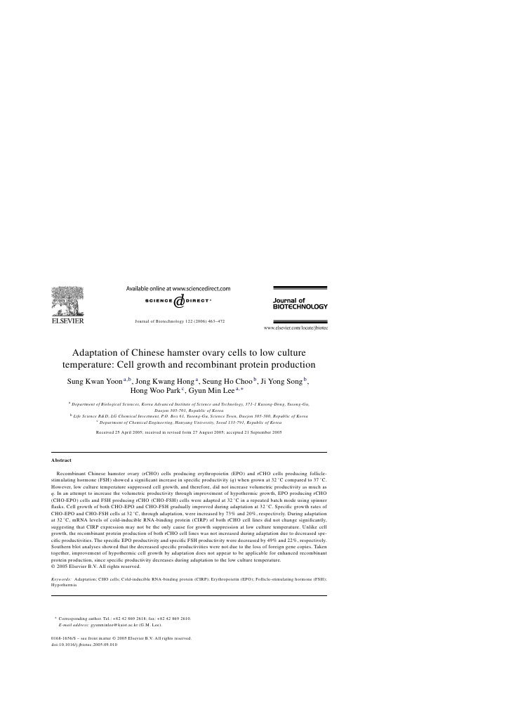Journal of Biotechnology 122 (2006) 463–472        Adaptation of Chinese hamster ovary cells to low culture      temperatu...