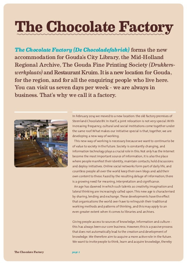 Essay on a visit to a chocolate factory