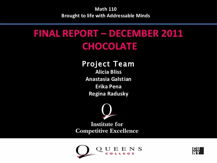 Math 110     Brought to life with Addressable MindsFINAL REPORT – DECEMBER 2011         CHOCOLATE             Project Team...