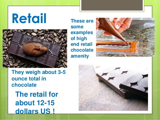 Retail These are some examples of high end retail chocolate amenity They weigh about 3-5 ounce total in chocolate The reta...