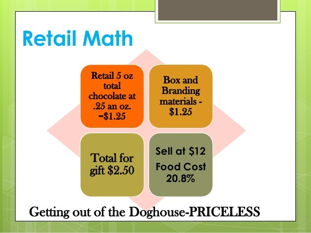 Retail Math Retail 5 oz total chocolate at .25 an oz. =$1.25 Box and Branding materials - $1.25 Total for gift $2.50 Sell ...