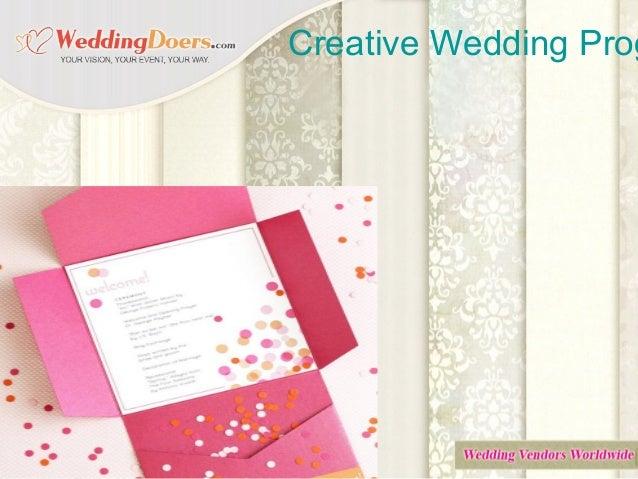 Creative Wedding Prog