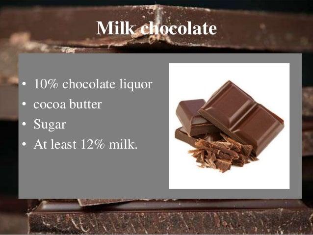 White chocolate  • 20% cocoa butter  • 14% milk  • 55% Sugar  • No chocolate liquor.