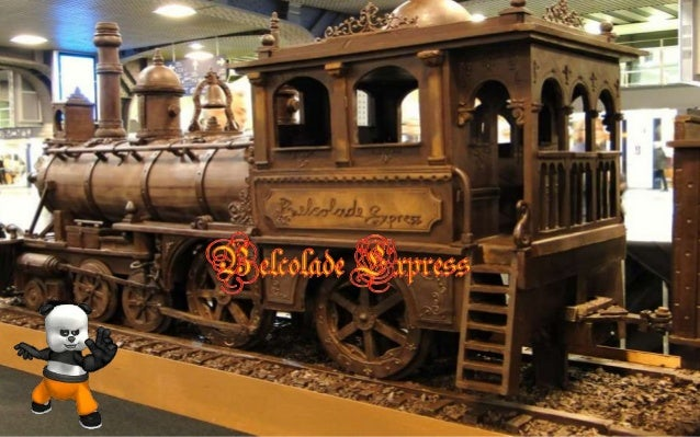 Andrew Farrugia from Malta ,made this 34 m (111 ft) long chocolate train for an exhibition in Brussels.