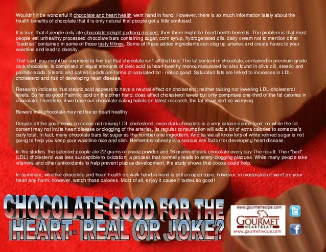 www.gourmetrecipe.com Wouldn't it be wonderful if chocolate and heart health went hand in hand. However, there is so much ...