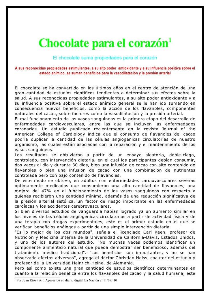 1                    Chocolate para el corazón                              El chocolate suma propiedades para el corazón ...