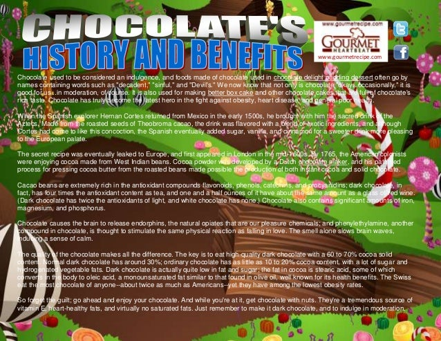 www.gourmetrecipe.com Chocolate used to be considered an indulgence, and foods made of chocolate used in chocolate delight...