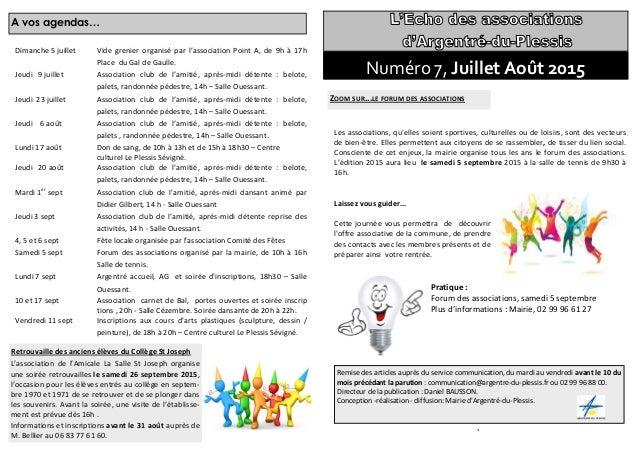 8 A vos agendas… Dimanche 5 juillet Vide grenier organisé par l'association Point A, de 9h à 17h Place du Gal de Gaulle. J...
