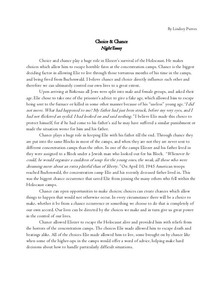 choice and chance night essay by lindsey purves<br >choice chance<br >night essay