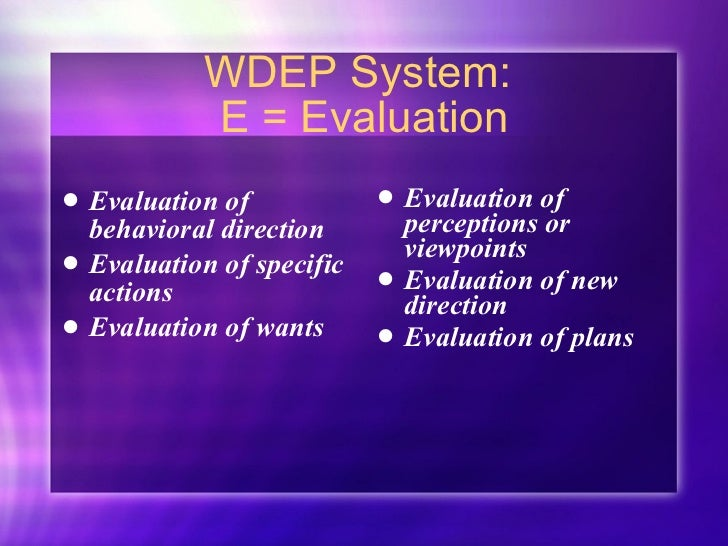 WDEP System:  E = Evaluation <ul><li>Evaluation of behavioral direction </li></ul><ul><li>Evaluation of specific actions <...