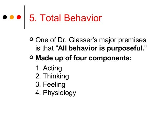 """5. Total Behavior One of Dr. Glassers major premisesis that """"All behavior is purposeful."""" Made up of four components:1. ..."""