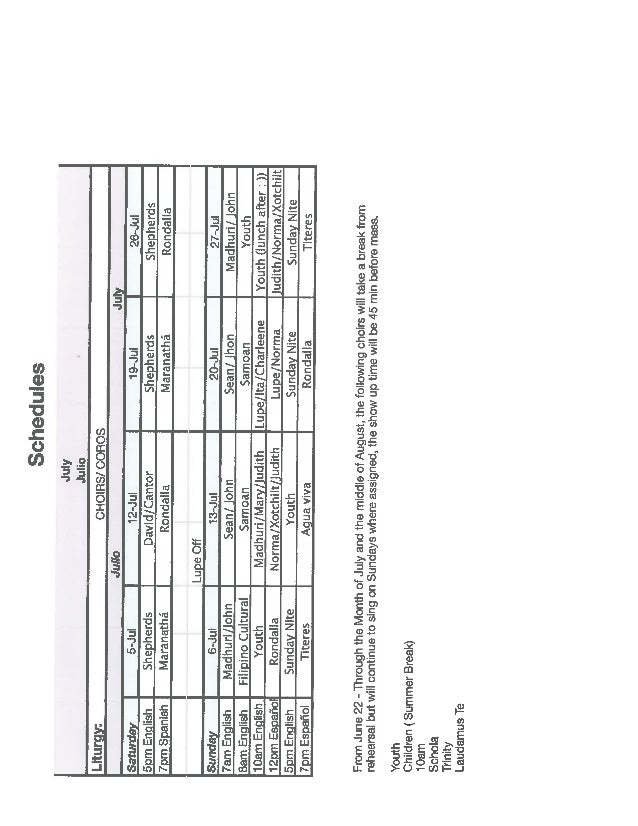 Choir Schedule July 2014
