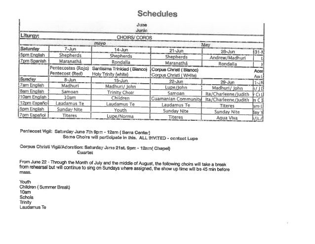 Choir Schedule for June 2014