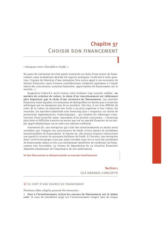 Chapitre 37  Choisir son financement  « Naviguer entre Charybde et Scylla ».  En guise de conclusion de cette partie consa...