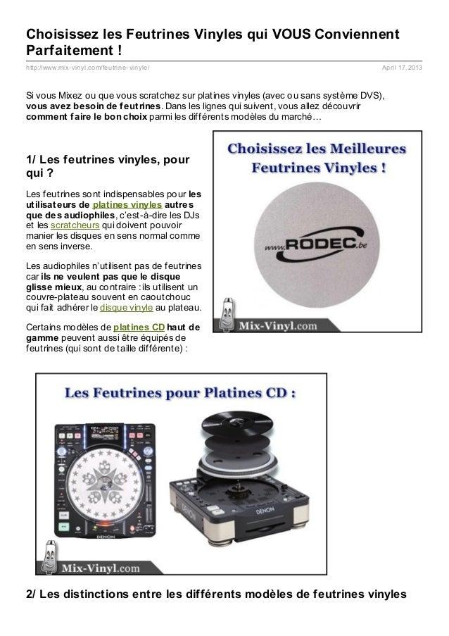 Choisissez les Feutrines Vinyles qui VOUS ConviennentParfaitement !http://www.mix- vinyl.com/feutrine- vinyle/            ...