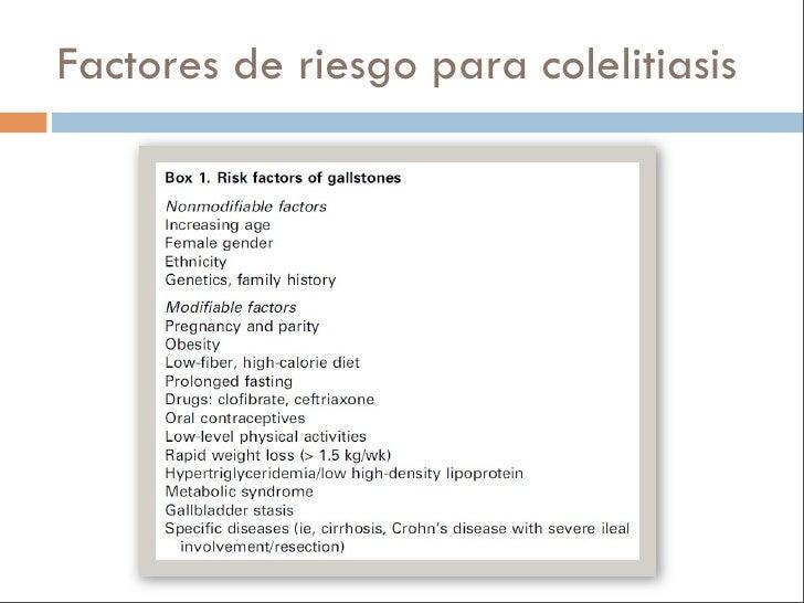 Factores de riesgo para colelitiasis