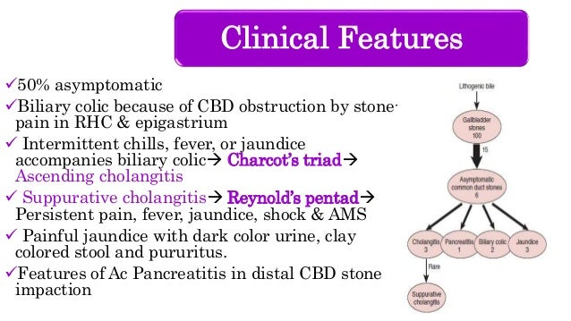 Clinical Features 50% asymptomatic Biliary colic because of CBD obstruction by stone- pain in RHC & epigastrium  Interm...