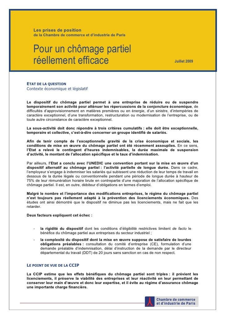 Les prises de position     de la Chambre de commerce et d'industrie de Paris        Pour un chômage partiel     réellement...